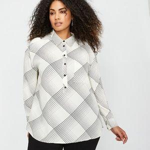 NWT Michel Studio black white long sleeve blouse